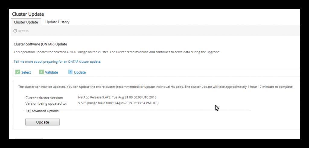 Actualizar NetApp 9.4 a 9.5
